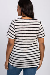 Ivory Striped Crochet Mesh Shoulder Maternity Plus Top