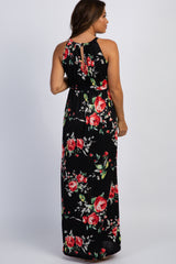 Black Floral Halter Neckline Maternity Maxi Dress