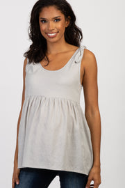 Grey Shoulder Tie Peplum Maternity Top