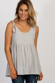 Grey Shoulder Tie Peplum Top