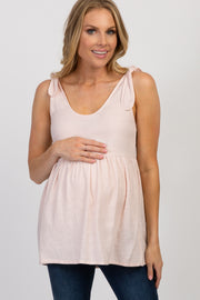 Light Pink Shoulder Tie Peplum Maternity Top