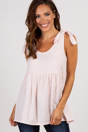 Light Pink Shoulder Tie Peplum Top