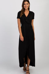 Black Solid Ruffle Hi-Low Wrap Dress