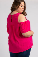 Fuchsia Cold Shoulder Crochet Maternity Plus Top