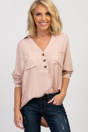 Light Pink Long Sleeve Button Front Collared Top