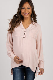 Light Pink Long Sleeve Button Front Collared Maternity Top