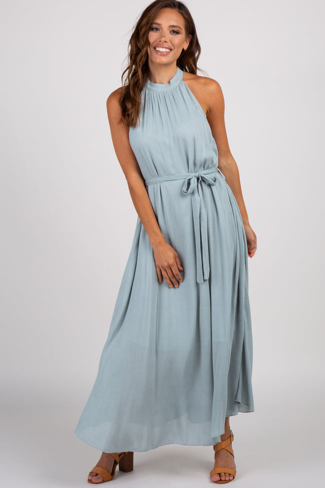 Light Blue Halter Neck Maxi Dress