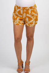 Mustard Yellow Tropical Leaf Print Maternity Shorts