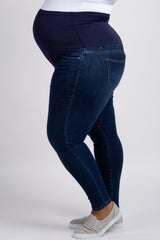 PinkBlush Navy Blue Faded Maternity Plus Skinny Jeans