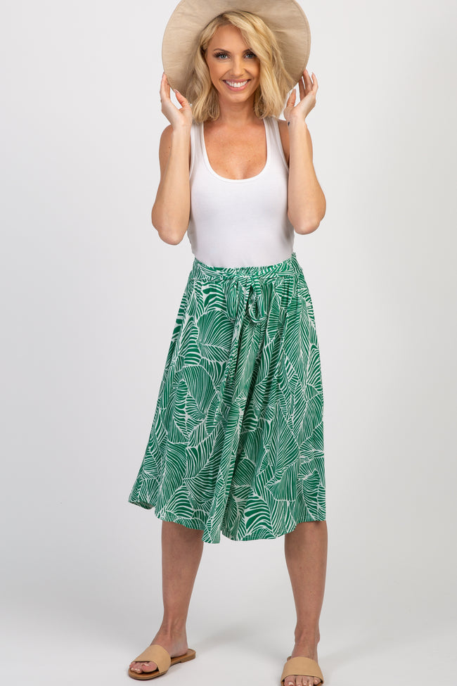 Green Tropical Wide Leg Maternity Pants