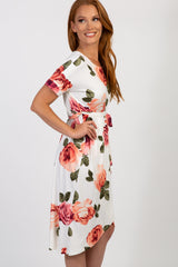 Ivory Floral Sash Tie Wrap Hem Dress