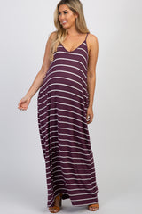 Purple Striped Maternity Cami Maxi Dress