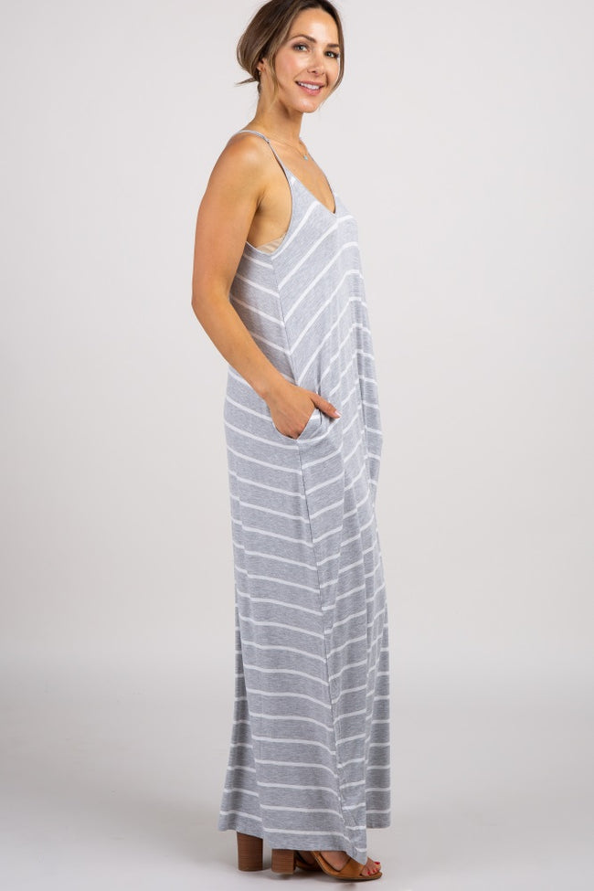 Heather Grey Striped Cami Maxi Dress