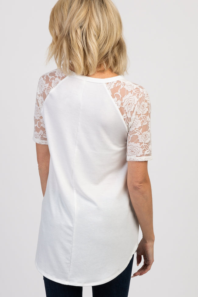 Ivory Lace Short Sleeve Top