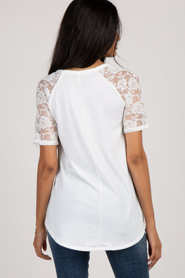 Ivory Lace Short Sleeve Maternity Top