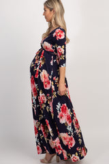 Navy Abstract Floral Sash Tie Maternity/Nursing Maxi Dress