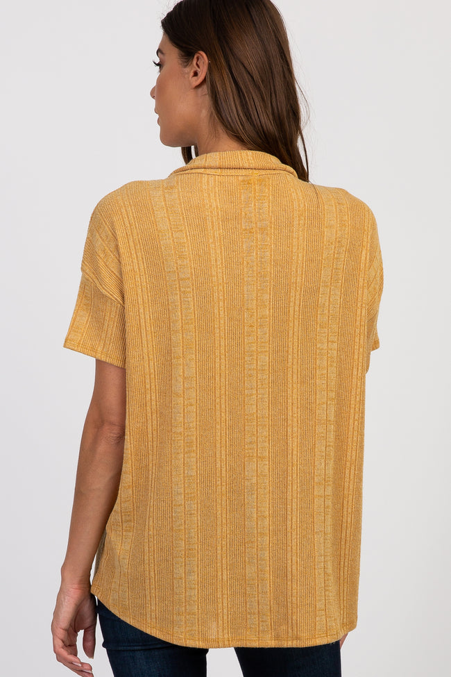 Mustard Ribbed Collar Button Front Top
