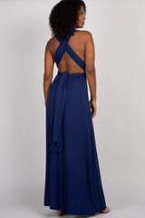 Navy Solid Pleated Convertible Maxi Dress