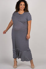 Navy Striped Ruffle Hem Plus Maternity Maxi Dress