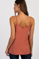 Salmon Solid Sleeveless Button Front Top