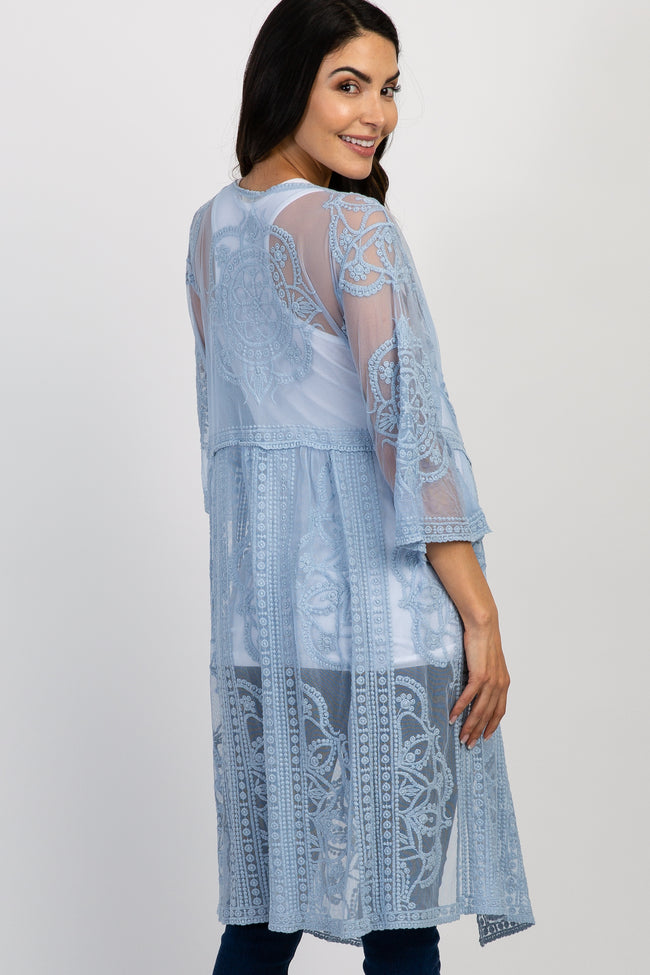 Light Blue Lace Mesh Tie Front Maternity Cover Up