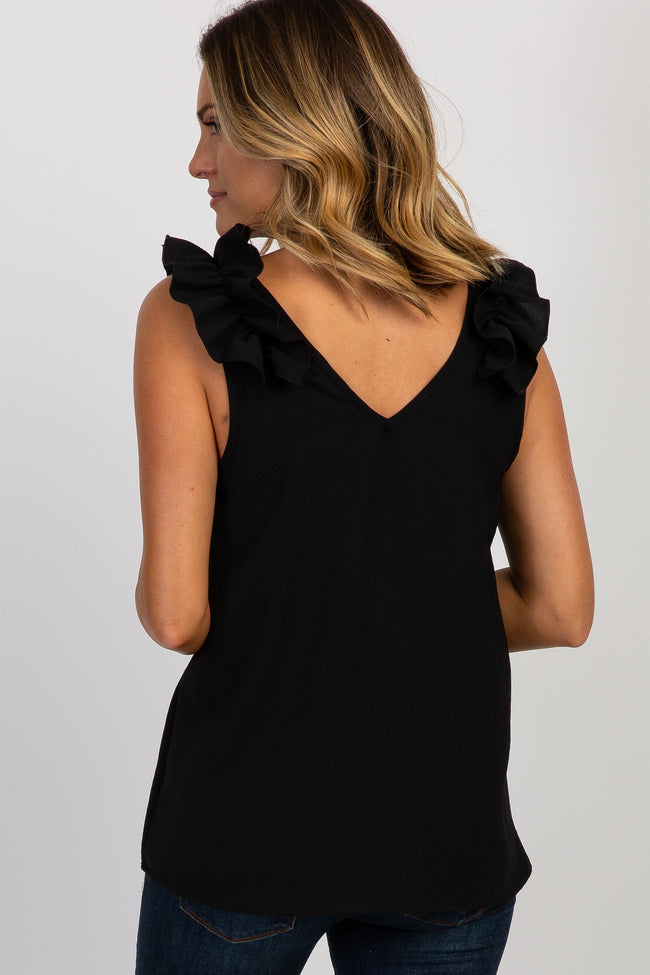 Black Solid Ruffle Sleeve Blouse