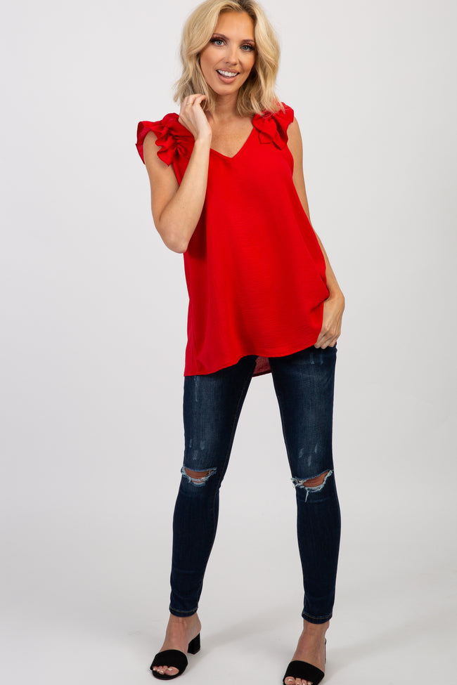 Red Solid Ruffle Sleeve Blouse