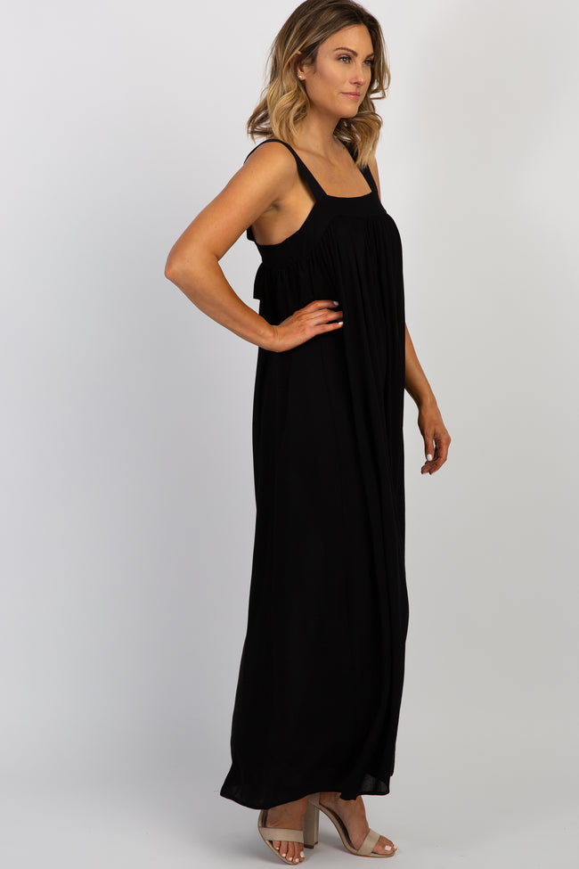 Black Solid Tie Back Maxi Dress
