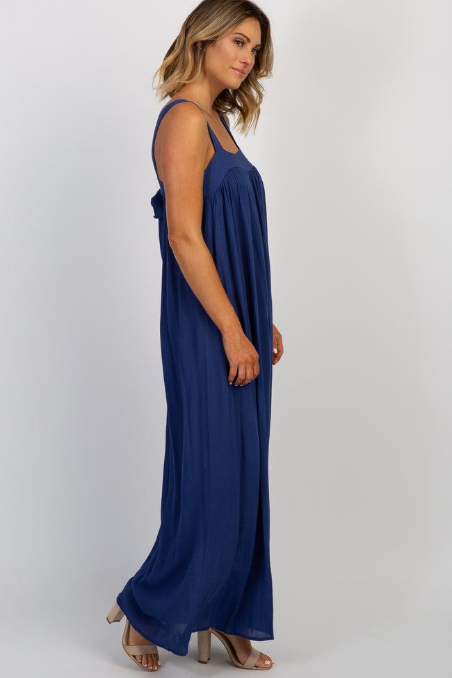 Navy Solid Tie Back Maxi Dress
