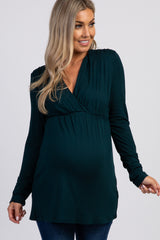PinkBlush Hunter Green Long Sleeve Maternity/Nursing Top