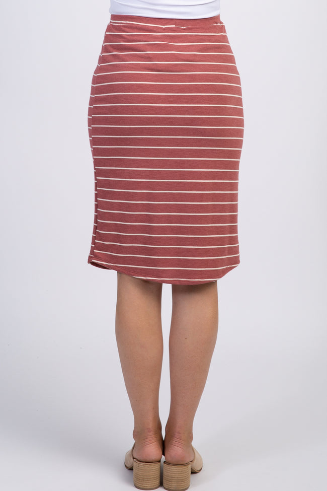 Mauve Striped Front Tie Skirt