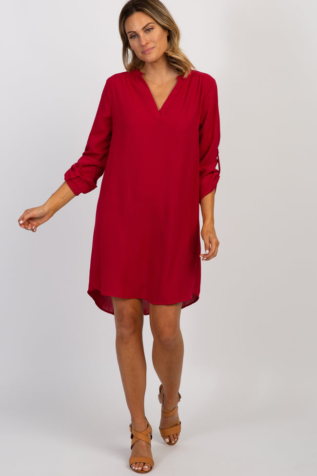 Burgundy Solid V-Neck 3/4 sleeve Dress