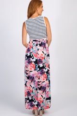 PinkBlush Navy Striped Floral Colorblock Maxi Dress