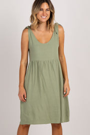 PinkBlush Olive Linen Tie Strap Dress