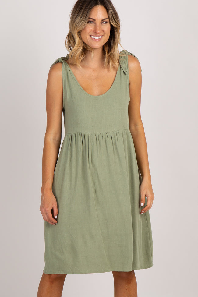 PinkBlush Olive Linen Tie Strap Maternity Dress