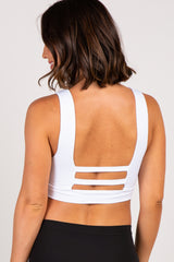 White Tie Front Cutout Back Maternity Sports Bra
