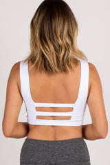 White Tie Front Cutout Back Sports Bra