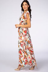 Cream Floral Bell Sleeve Maxi Dress