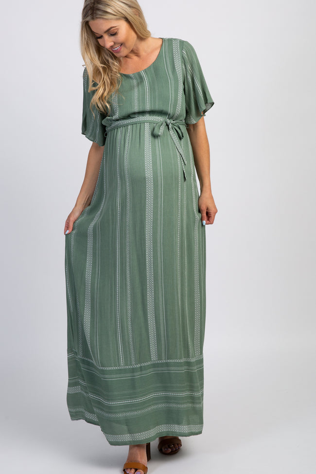 Mint Green Striped Sash Tie Maternity Maxi Dress