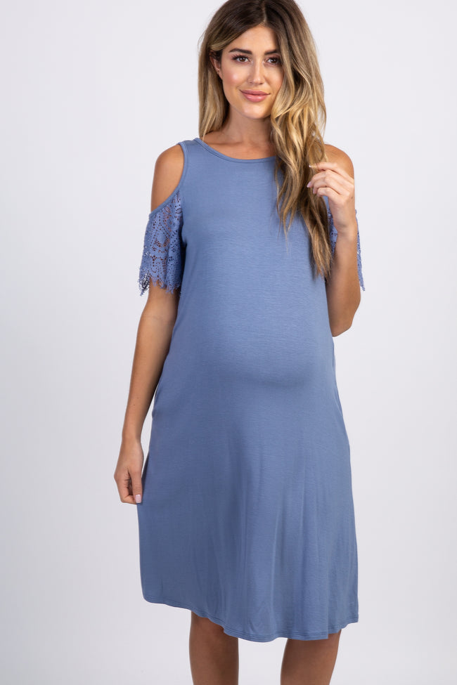 Blue Cold Shoulder Lace Sleeve Maternity Swing Dress