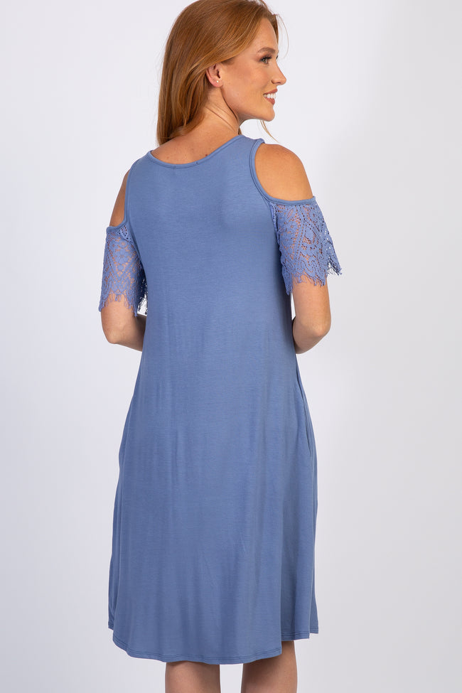 Blue Cold Shoulder Lace Sleeve Swing Dress