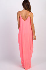 PinkBlush Neon Pink Chiffon Cami Maxi Dress