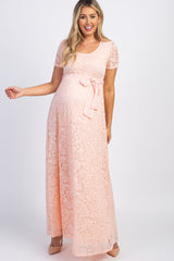 PinkBlush Light Pink Lace Sash Tie Maternity Gown