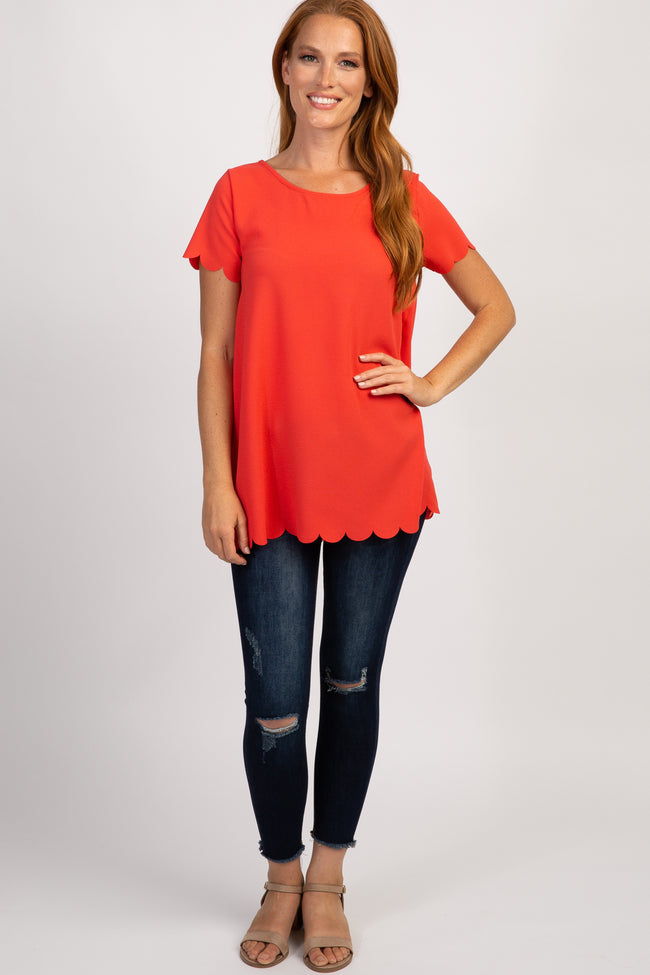 PinkBlush Coral Solid Scalloped Hem Top