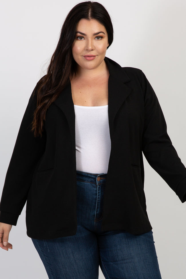 Black Solid Collared Plus Blazer