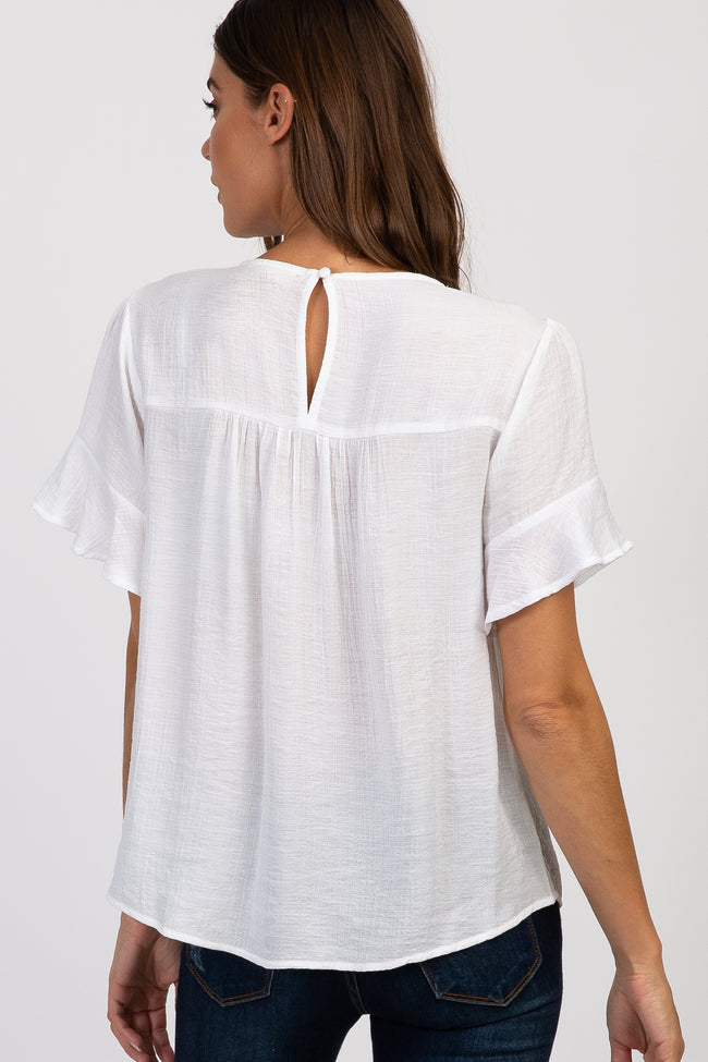 White Solid Ruffle Sleeve Crochet Top