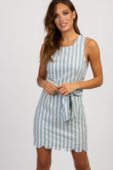 Blue Striped Tie Front Scalloped Dress