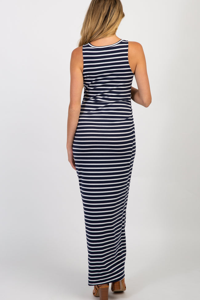 PinkBlush Navy Blue Striped Sleeveless Fitted Maternity Maxi Dress
