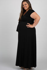 Black Solid Short Sleeve Plus Maternity/Nursing Maxi Dress