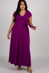 Magenta Solid Short Sleeve Plus Nursing Maxi Dress